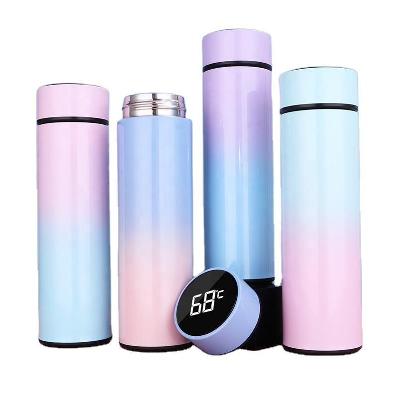 2020 hot seller 500ml vacuum thermos flasks water bottles led screen panel touch smart thermos with temperature display