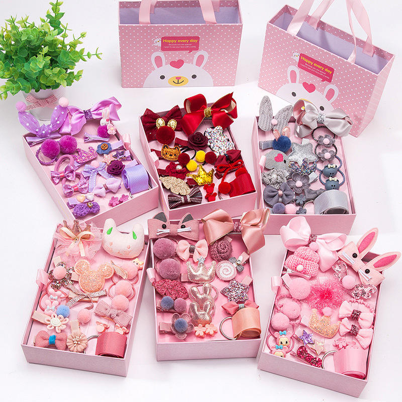 Seaygift New Style Korean Fashion Cute Beautiful Children's Hair Accessories 18 Piece Sets Hair Clip Sets Rubber Hairpin