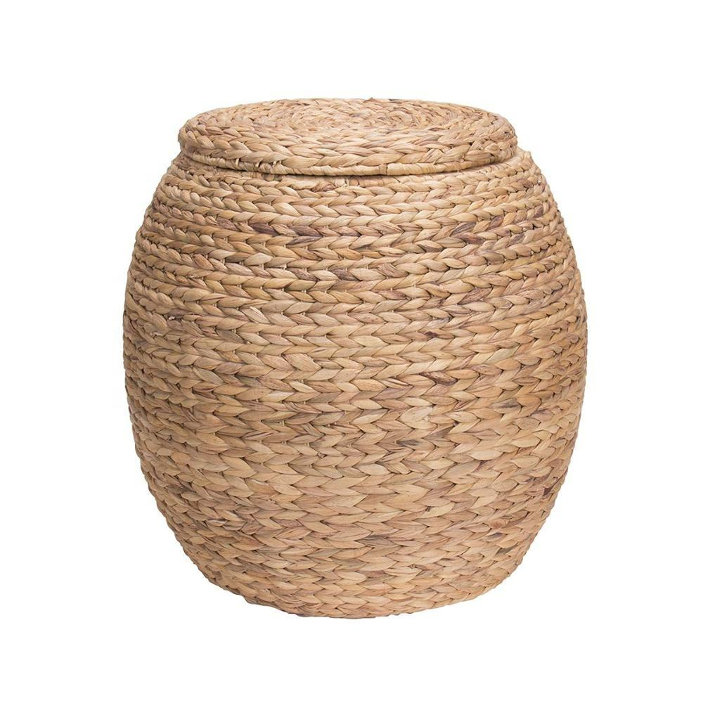 Round Chunky Handwoven Water Hyacinth Basket With Lid Bamboo Rattan Seagrass Storage Hamper