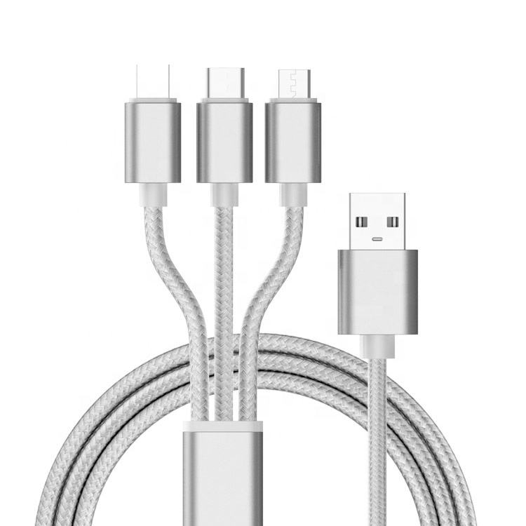 WIK-YD Best Sellers 3 In 1 Nylon Braid High Speed Usb Charging Cable