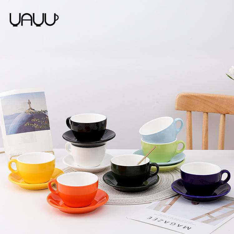 Exquisite glossy colorful cheap tea coffee cups and saucers / ceramic cup and saucer set