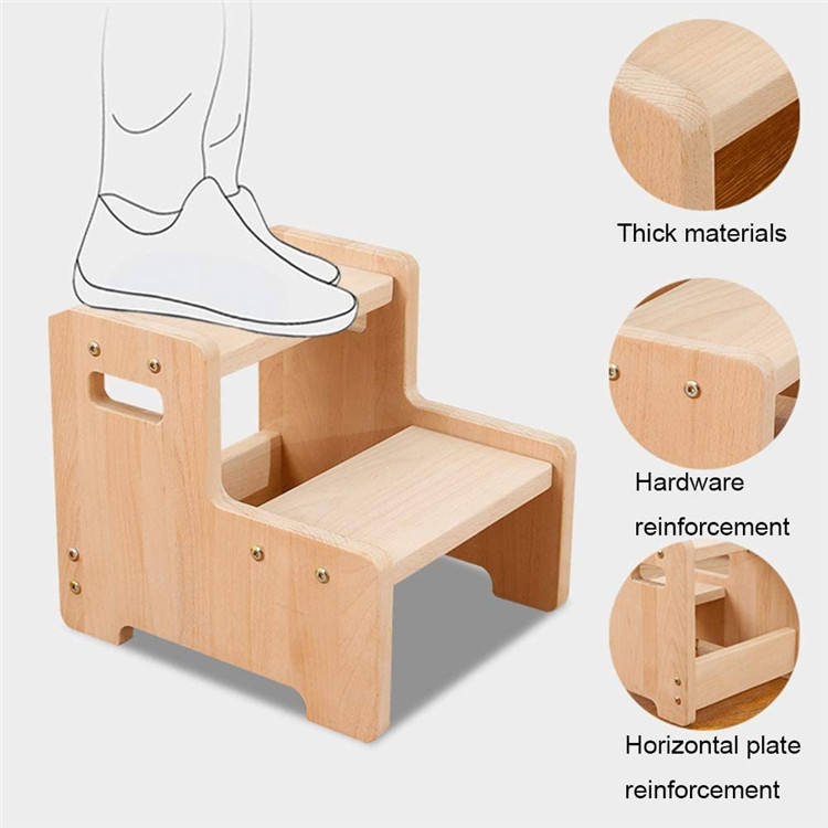 Wooden Toddler Step Stool for Kids, Bathroom Potty Stool & Kitchen Stool, Two Step Stool for Bedroom