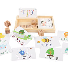 Wood Spelling Words Game Kids Early Educational Toys for Children Learning Wooden Toys Montessori Education Toy Teaching aids