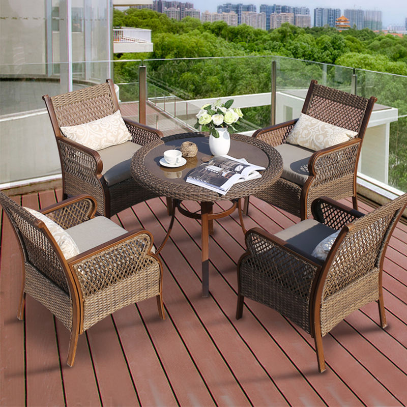 outdoor patio garden furniture sets rattan dining chair table 4seater wicker 5pcs garden set