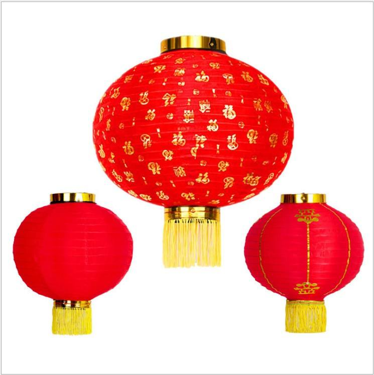 15-30 inches Traditional Waterproof Red Chinese Advertising Silk red round Lantern