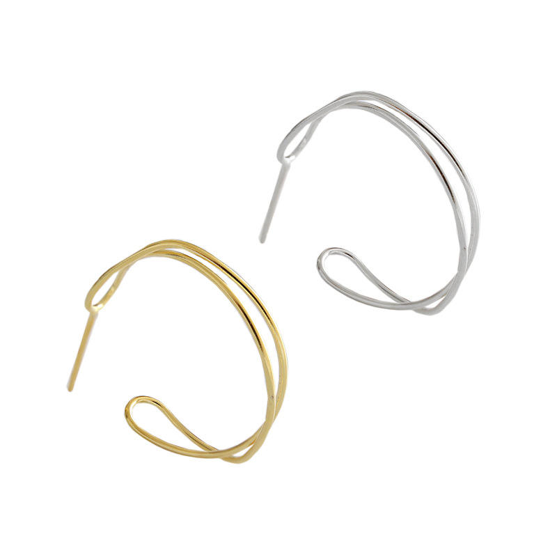 Simple Women Irregular Geometric S925 Sterling Siver Stud Earring