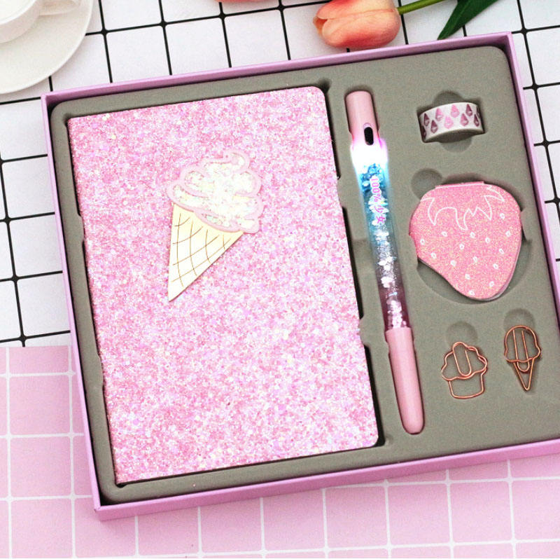 Buling Pink Magic LED Pen Rose Gold Wallet Notebook Diary Sticker Set special Gift set for Women Diffuser Gifts and Crafts Set
