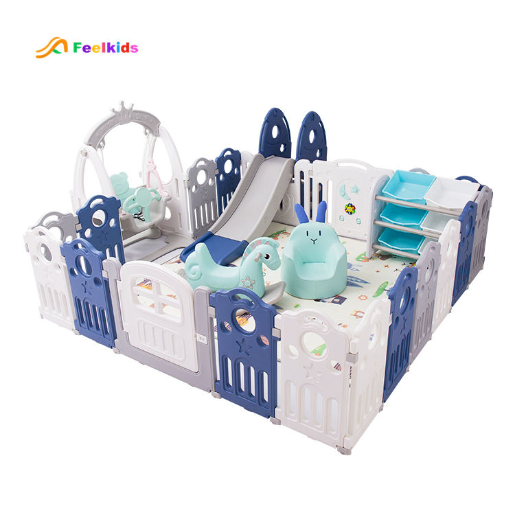 children indoor playground child play yard kids folding fence baby safety playpen with slide swing toys