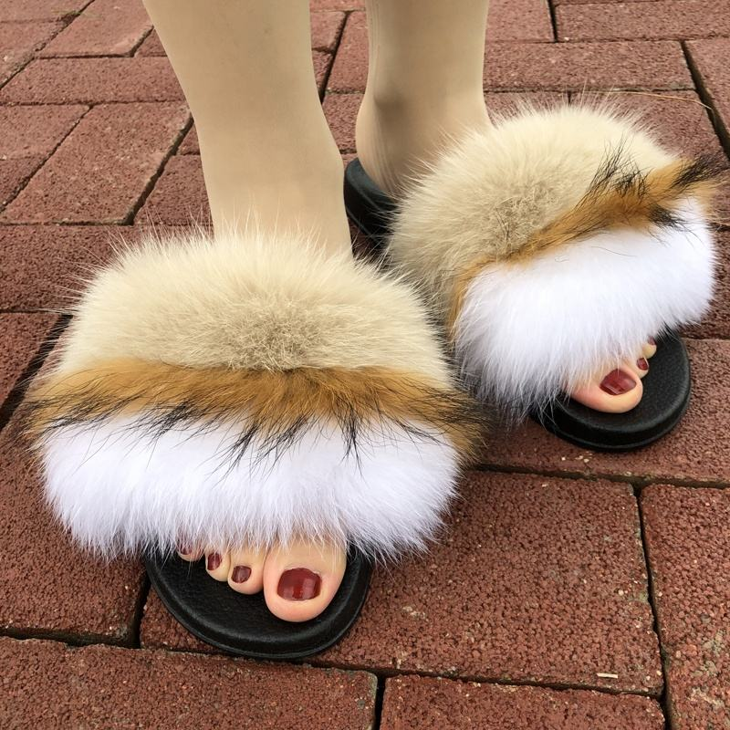 Ladies And Kids And Women Real Fox And Mink Platform Heel Slippers Sandals With Fur ladies sandals and slippers