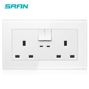 Tempered glass double UK 13A electric wall switch socket