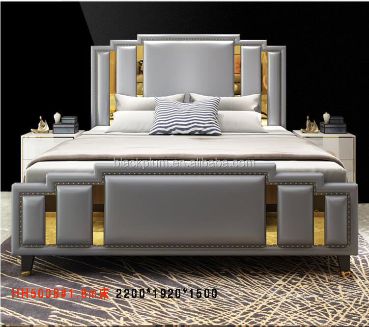 Luxury wood furniture italian bedroom set king size modern latest bed