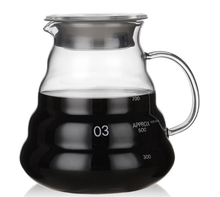 Pour Over Coffee Maker Set with Reusable Stainless Steel Drip Filter Coffee Dripper Pot Glass Carafe