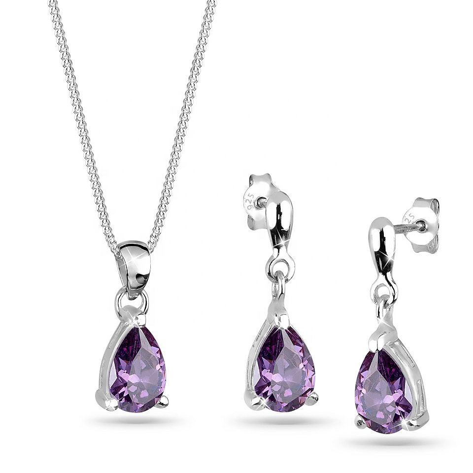 Customized women sterling silver amethyst cz zircon jewelry set