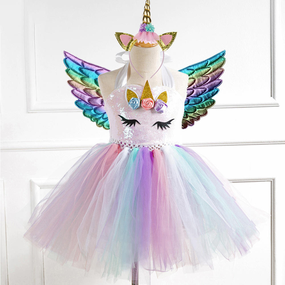Girls' Clothing Sets Tutu Dress Sequined Net Yarn Girls Show Unicorn Children Princess Dress Pari Dress for Baby Girl