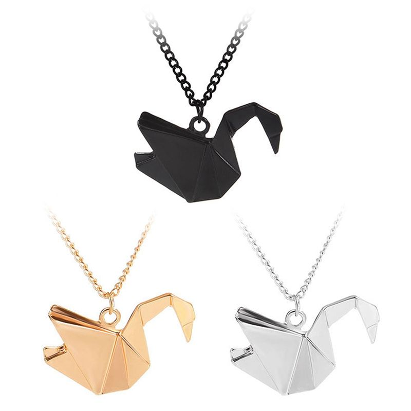 Elegant Origami fold Swan Necklace Charm Women Pretty Chain Pendant Necklace Collares Couples Bridesmaid Gift