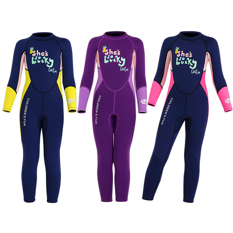 Kids Wetsuits Girls 2.5mm Neoprene Thermal Long Sleeve Swimsuit Full Diving Suit für Swimming Surfing Water Sports M3052