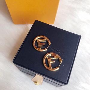 Have LOGO Wholesale Fashion Women Letter Copper Gold Round Hoop Stud Earrings