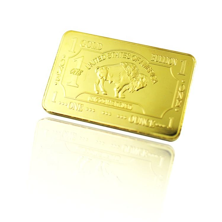 FS-Craft Hot Sell Factory Price 1 OZ Titanium Gold Plated Gold Bar 24k Pure Buffalo Bar