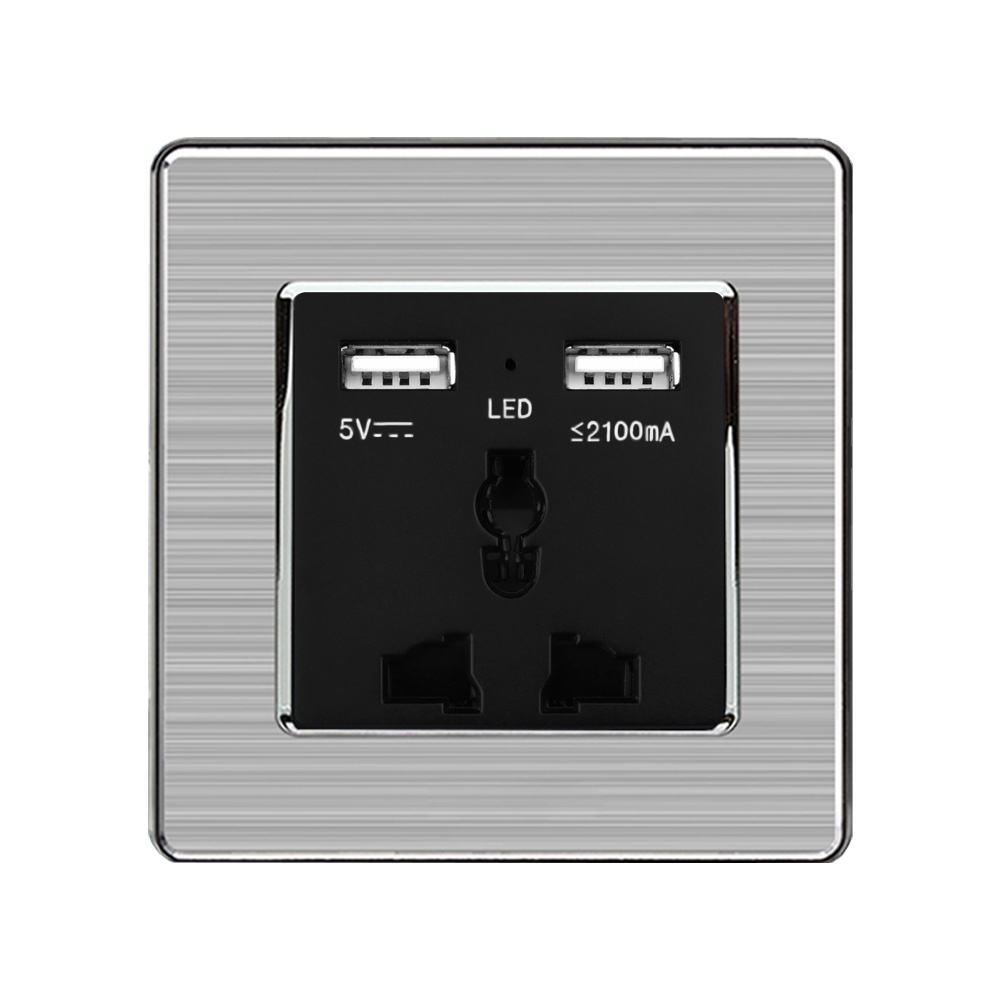 SRAN universal electric socket 13A Hotel home improvement 3-pin plug brushed steel usb socket