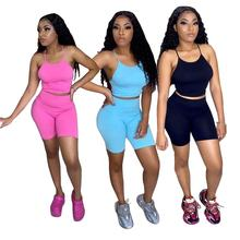 Wholesale Women Solid Crop Top Short Shorts Tracksuit 2 Piece Sets Outfit Biker Sportswear Plus Size