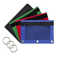 Assorted Color 3-Ring Pen Pencil Pouch with Clear Window school pen bag 3-ring pencil case mesh window school/office supplies
