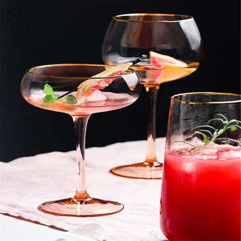 Luxury High Fashion Crystal Clear Colored Gold Rimmed Wine Glass Goblet Cup Set For Wedding 1819