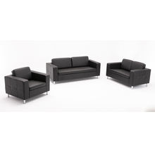Cheap Black Leather Show Room Office Sofa Set With Factory Price