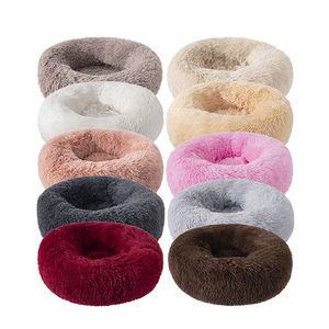 Hot selling high quality luxury fluffy faux fur deep sleeping donut pet bed for dogs cats
