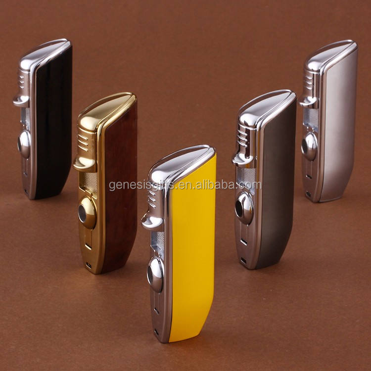 Genesis cohiba 3 Torch flame windproof customized Laser Logo Refillable Cheap Torch Lighter with Punch Cutter