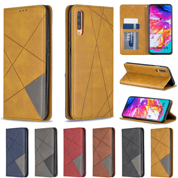 Fashion Rhombus Leather Flip Wallet Cell Phone Case Fundas Para Celulares for Samsung Galaxy A50 A10 Mobile Phones Back Cover