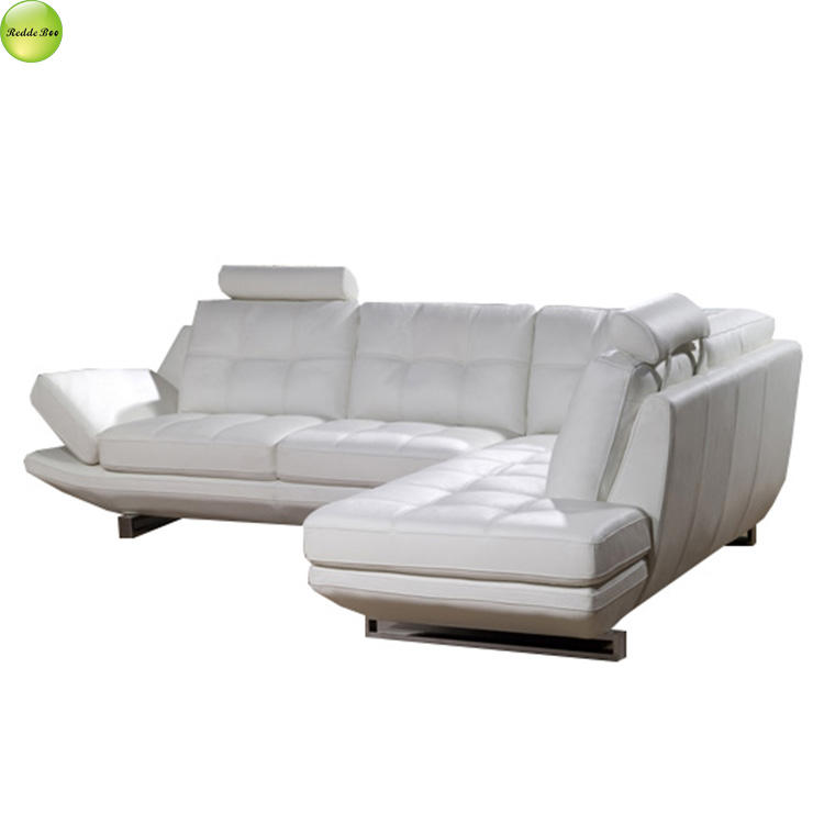 Korean modern style white leather furniture design sofa for palace