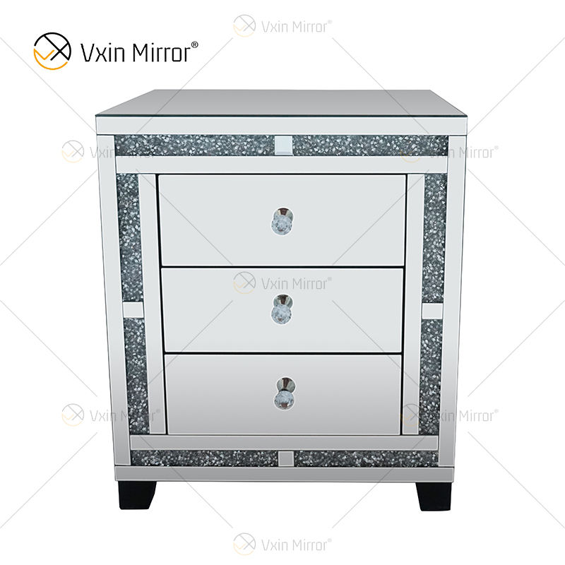 Good Quality Silver Crushed Diamond Nightstand Bedside With 3 Drawer