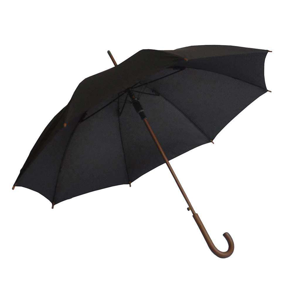 Stick Umbrella Automatic Open Curved Wood Hook Handle Black Rain Umbrellas with Classic J Handle Windproof for Men and Women