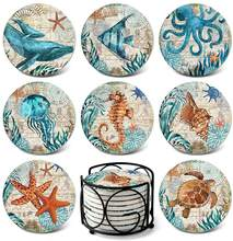 "Amazon hot selling Absorbent Ceramic Coasters   4"" Diameter  Drink Round Water-absorbent Quick-drying Coaster Sea Turtle Ocean"