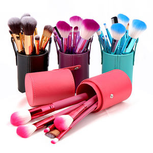 12Pcs Private Label Moda Japonesa Poundation Pó Make Up Brush Set Com a Copa Titular Caso de Viagem De Madeira
