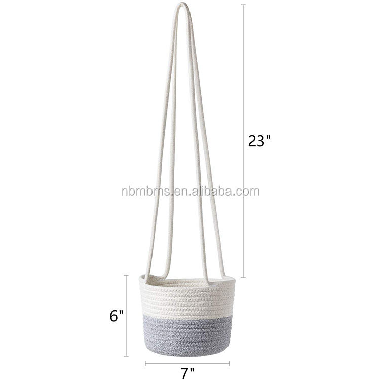 QJMAX Hand Woven Home Decor Sundries Or Plant Wall Hanging Rope Basket Organiser