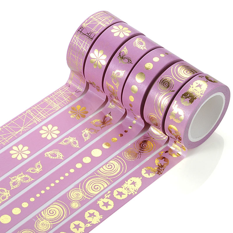 Custom Printed OEM Crepe Adhesive Colored Gold Foil 5mm Masking Washi Tape Wholesale