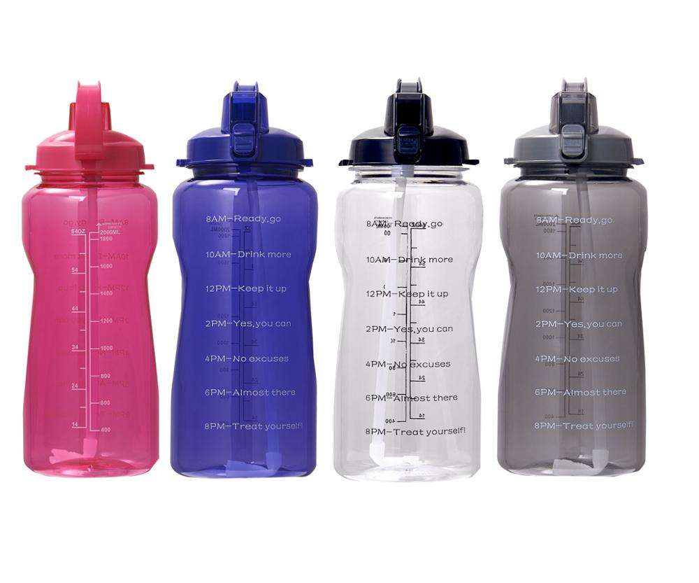 2L Half Gallon Tritan water bottle with straw and motivational time marker Leakproof BPA free