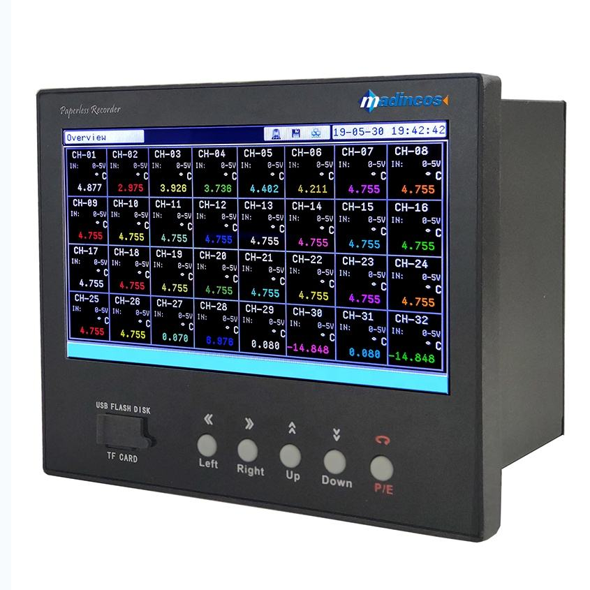 MPR5000S:7''LCD Universal Digital 16/24/32 Multi Channel Warna Paperless Perekam Suhu dengan USB/Relay/RS485/ Ethernet
