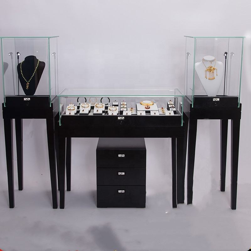 Watch show case shop fixture cosmetic retail counter cellphone lockable cabinet brass jewelry glass display case