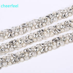Hot Sale iron on rhinestone crystal beaded trimmings applique for sash belt and bridal garter rh-909