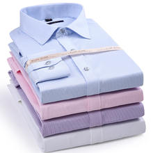 S938 Elastic Stripe Men Long Sleeve Shirt Dress Casual Shirt Male Social Formal Shirt Slim Fit Design
