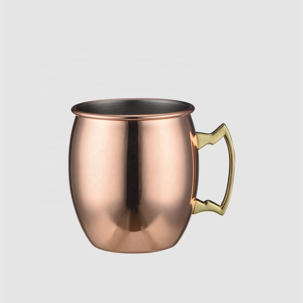 Factory Direct high quality special pure copper muscow mule mugs hot selling for stainless steel 500ml 304 cool beer mugs