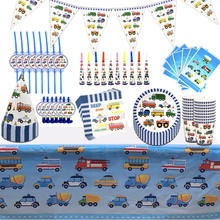 Construction Car Fire Truck Theme Disposable Party Supplies Kids' Birthday Theme Party Thanksgiving Day Decoration Supplies