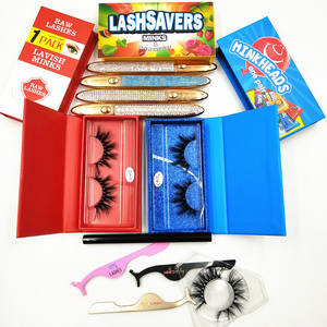 3D handmade own brand mink eyelashes Black Cotton Band lashes3d wholesale vendor 25mm siberian mink eyelash strips lashcases