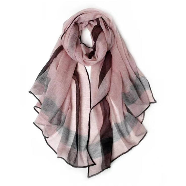 Fashion style design women plaid checked shawl wool and cashmere scarf