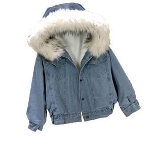 Christmas hot selling womens full lining and removable fur collar winter denim coat denim jacket