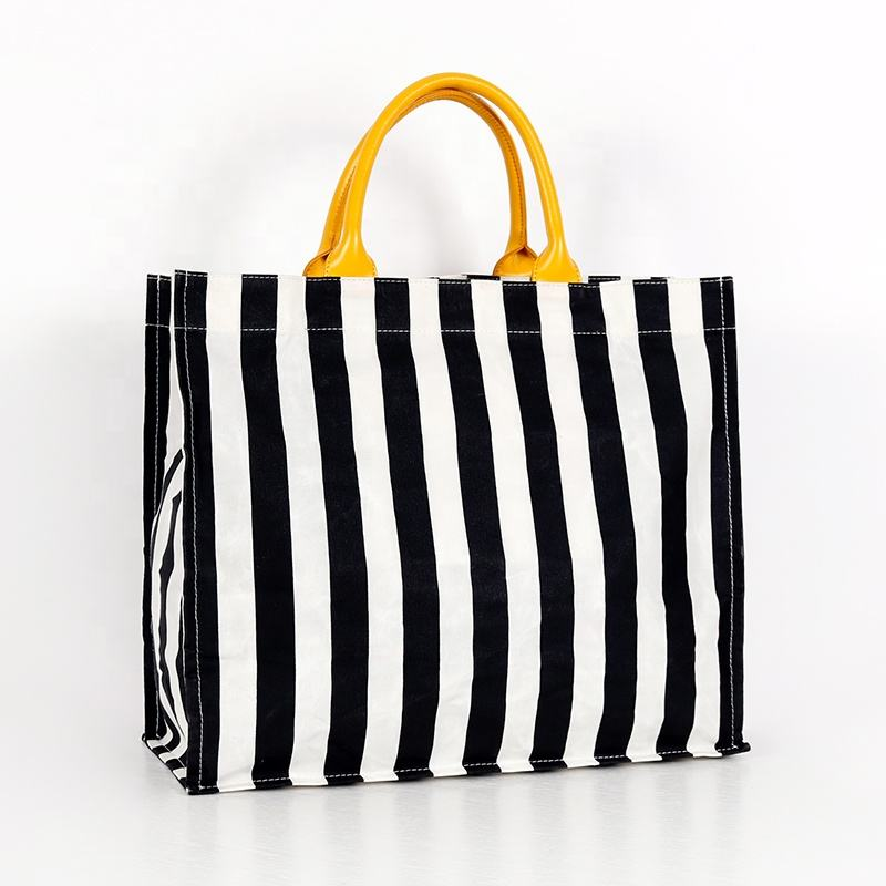 Custom heavy duty waterproof waxed canvas stripe beach tote bag