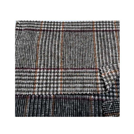 TWO kinds of wool mohair fleece plaid double face fabric