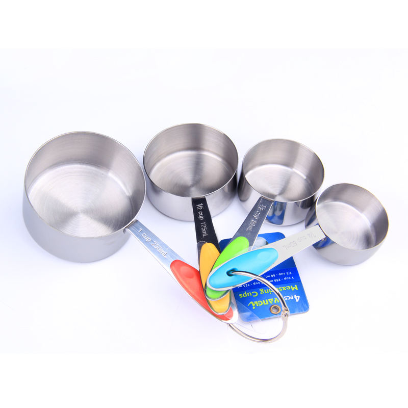 4 Piece Measuring Cups Set Stainless Steel Measuring Cup for Baking Tea Coffee Kitchen Measuring Tools
